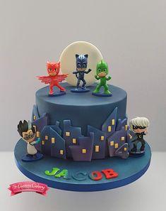 PJ Masks Cake www.facebook.com/doncastercustomcakery