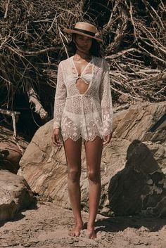 Shanina Shaik wears For Love & Lemons features Caracas lace romper with La Rochelle bandeau top for 2017 swimsuit lookbook
