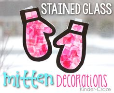 "Step-by-step tutorial for creating ""stained-glass"" mittens in a kindergarten classroom as a winter craft project"