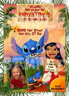 Lilo and Stitch Birthday party invitations Luau