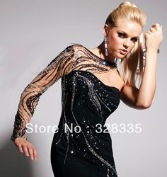 long one shoulder sleeve prom dress | ... One-Shoulder-Long-Sleeves-Heavy-Beaded-Black-Long-Prom-Dress-Evening