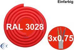 Textilleitung rund 3x0,75mm² rot RAL3028 Synthetikgeflecht Textilkabel ummantelt