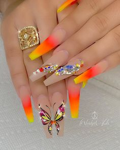 yellow orange red ombre coffin nails with butterfly nail designs Best Acrylic Nails, Summer Acrylic Nails, Acrylic Nail Designs, Nail Art Designs, Summer Nails, Pastel Nails, Dope Nails, Bling Nails, Swag Nails