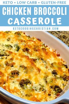 Chicken and Broccoli Casserole - Keto and Low Carb Fresh broccoli and shredded chicken baked in cheesy goodness, has great flavor and lots of healthy fats! This low carb easy casserole dish makes the perfect weeknight dinner. Shredded Chicken Casserole, Healthy Shredded Chicken Recipes, Low Carb Chicken And Broccoli, Low Carb Chicken Casserole, Broccoli Recipes, Gluten Free Chicken, Easy Chicken Recipes, Fresh Broccoli, Healthy Recipes