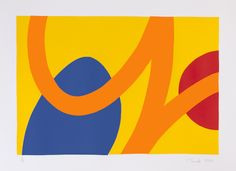 """Saatchi Online Artist: Ian Scaife; Screen-printing, 2013, Printmaking """"blue and red on yellow"""""""