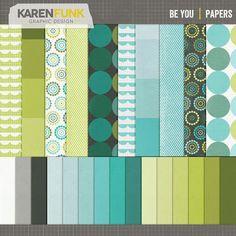 Digital Scrapbooking Paper  Be You by KarenFunkDesign on Etsy, $3.00