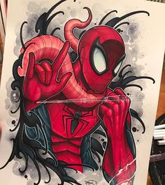 Fighting off the simbiote. acrylic, marker, ink, pencil and watercolor on hot press All Spiderman, Spiderman Tattoo, Marvel Tattoos, Art Sketches, Art Drawings, Comic Tattoo, Marvel Drawings, Nerd Art, Marker Art