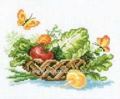 Buy Vegetable Basket Cross Stitch Kit DISC Online at www.sewandso.co.uk