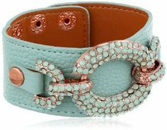 """Betsey Johnson """"Blue & Rose Gold Boost"""" Crystal Link Leather Snap Bracelet, 7.5""""  $58.00 & FREE Shipping"""