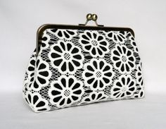 Lace Clutch Ivory and Black Lace Clutch Clutch by TheHeartLabel Wedding Clutch, Bridal Clutch, Bridesmaid Clutches, Bridesmaids, Handmade Clutch, Silver Clutch, Handmade Wedding, Clutch Purse, Women's Accessories