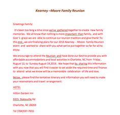 Kearney-Moore 2016 Family Reunion invitation