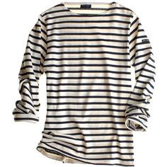 St James Meridien Sailor (215 BRL) ❤ liked on Polyvore featuring tops, shirts, long sleeves, sweaters, women, striped shirt, sailor stripe shirt, extra long sleeve shirts, striped top and long sleeve tops