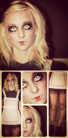 Creepy doll #halloween #costume from last year. Handmade outfit, doll leg tights and #makeup done by me.