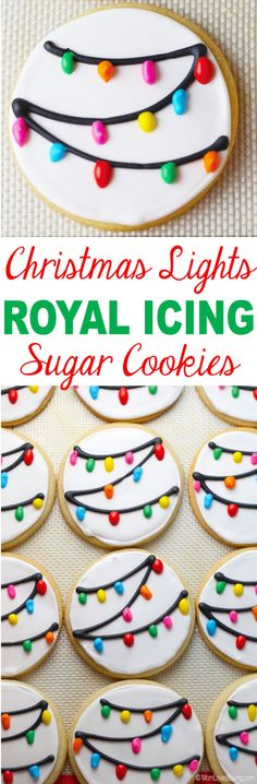 Christmas Lights Royal Icing Sugar Cookies is a recipe post by Lise Ode of Mom Loves Baking. I made MORE sugar cookies! This time, I made them on behalf of my church (Alpharetta First United Christmas Sweets, Christmas Candy, Christmas Lights, Christmas Recipes, Iced Cookies, Sugar Cookies, Christmas Cookies, Royal Icing Sugar, Royal Icing Cookies