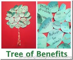 Craft showing the benefits of trees, Earth Day