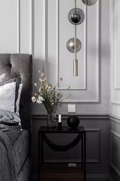 Inside a Refined Stockholm Apartment in Shades of Grey - Nordic Design Modern Classic Bedroom, Modern Classic Interior, Classic Home Decor, Classic House, Two Tone Walls, Stockholm Apartment, Design Blog, Nordic Design, Home Decor Bedroom
