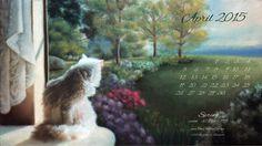 """Spring"" desktop calendar 2560 x 1440 for HD and wide screens."