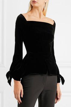 Black velvet Zip fastening through back 82% viscose, 18% silk; lining: 100% silk  Dry clean  Made in the UK