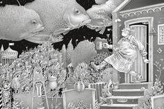 Einar Turkowski German illustrator, winner of the Biennal of Illustration Bratislava (BIB) in 2007 for his book Es war finster und merkwurding still (It was Dark and Eerily Quiet). Art And Illustration, Black And White Illustration, Graphic Design Illustration, Bratislava, Faber Castell, Atlantis, 1 Gif, Fairytale Art, Amazing Drawings