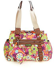 Lily Bloom Tripe Section Satchel With Coin Case