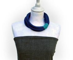 Navy blue and blue green knitted wool yarn necklace or neckwarmer, eight loops cowl, knitted winter accessories