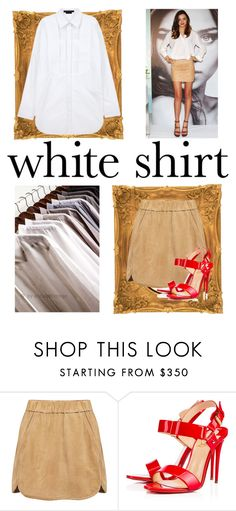 """white shirt and tan skirt"" by fernshadowstudio-com ❤ liked on Polyvore featuring Alexander Wang, Marissa Webb, Christian Louboutin and WardrobeStaples"