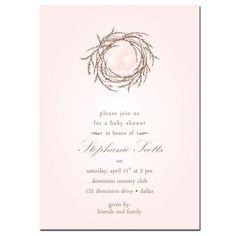 Little Bird's Nest Baby Shower Invitation - Pink. $29.90, via Etsy.