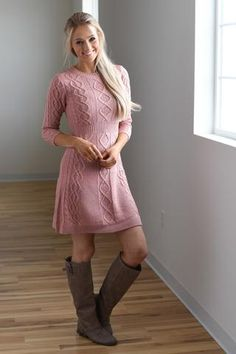f4388652004 Dusty Pink Sweater Dress Pink Sweater Dress