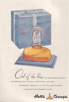 Out of the Blue by Hattie Carnegie, 1946, vintage perfume ad. Here's one I would like to have sampled.