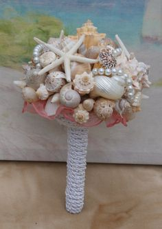 4 piece Starfish Pearl and Seashell Bouquet and by KagCreations, $247.00