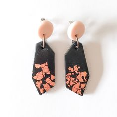 "Image of Polymer clay ""Aria"" earrings Black & Copper"