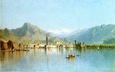 """""""Lago di Garda, Italy,"""" Sanford Robinson Gifford, 1863, oil on canvas, 10.63 x 16.75"""", private collection."""