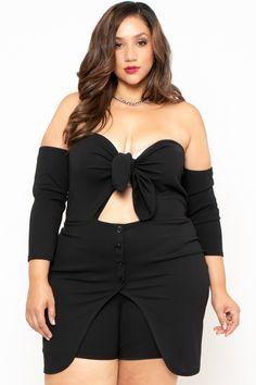 dc31d7dcc8c Plus Size Dashing Tie-Front Romper - Black – Curvy Sense Plus Size Black  Dresses