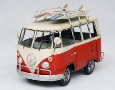 antique tin model car, vw microbus