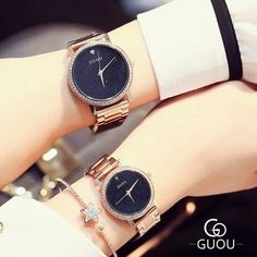 Original GUOU Brand Bling Stars Full Stainless Steel Rose Gold Japan Movt Quartz Wrist Watches Wristwatch for Women Ladies Stylish Watches For Girls, Trendy Watches, Cute Watches, Wrist Watches, Latest Watches, Rose Gold Watches, Women's Watches, Bff, Couple Watch