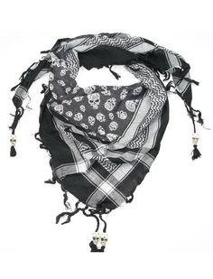 Skull Scarf Black & White - Lovarzi Cotton Desert Square Fashion Scarfs with Skull Bone Beads