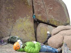 Watching people climbing offwidths apparently is also hard work :-)