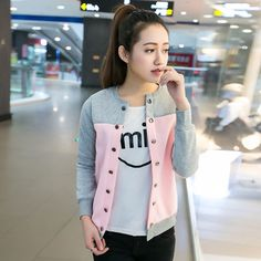 Women Korean Style College Long Sleeve Jacket Baseball Clothing Casual Female Spring Autumn Girl Cute Thin Jacket Coat Students
