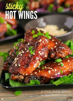 This Sticky Hot Wings recipe has just the right amount of sticky sweet heat and big flavor. Plus a secret tip to make sure your oven baked chicken wings are extra crispy! Honey Garlic Chicken Wings, Cooking Chicken Wings, Baked Chicken Wings, Chicken Wing Recipes, Crispy Chicken, Asian Chicken, Chicken Meals, Grilled Chicken, Recipes Appetizers And Snacks