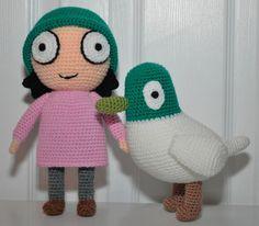 Amigurumi Crochet Doll Sarah & Duck Pdf Pattern, From Cbeebies Sarah And Duck