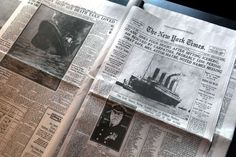 """NEW YORK, NY - APRIL 10:  The front page of The New York Times April 15, 1912 edition details the sinking of the RMS Titanic at the opening of the """"Titanic at 100: Myth and Memory"""" exhibition on April 10, 2012 in New York City. The exhibit opened at the Melville Gallery, part of the South Street Seaport Museum, on the 100th anniversary of Titanic's launch on her maiden - and only - voyage. The exhibition features mayday communications from the ship, personal artifacts from survivors…"""