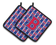 Letter B Football Harvard Crimson and Yale Blue Pair of Pot Holders CJ1076-BPTHD