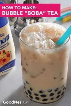"""Bubble tea is all the rage. Get in on this refreshing summer food trend with this easy Bubble """"Boba"""" Tea recipe. Combine Coffee-mate® Original Flavor Powdered Coffee Creamer and Nestlé® La Lechera® Sweetened Condensed Milk with Boba tapioca bubbles to make this sweet iced drink. Summer Drink Recipes, Summer Food, Tea Recipes, Tapioca Bubbles, Boba Tea Recipe, Bubble Boba, Refreshing Summer Drinks, Coffee Creamer, Food Trends"""