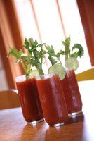 Bloody Mary Drinks with Celery   Almost the recipe I was using.  Great with medium rare steak, or shrimp, or just with a bowl of chips and salsa.