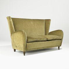 Paolo Buffa; Walnut and Velveteen Sofa, 1950.