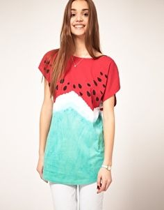 I would totally rock this watermelon tee... why not! :) I could make this, right??