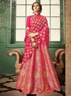 Magenta Banarasi Silk A Line Lehenga Choli 97920