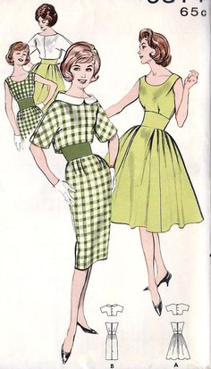 """1960s Misses Dress with Full or Slim Skirt and Jacket Vintage Sewing Pattern, Butterick 9314 bust 34"""" uncut. via Etsy."""