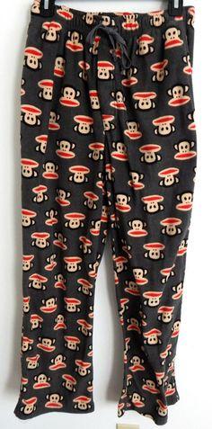 Julius The Monkey Paul Frank Women Sleepwear Size M 32 Fleece Pajama Pants Gray…