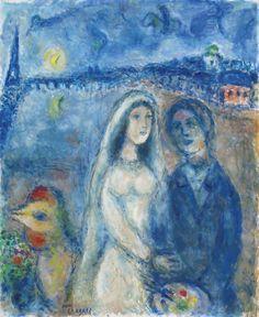 La mariée sur fond de la tour Eiffel(ca. 1982-83) - Marc Chagall